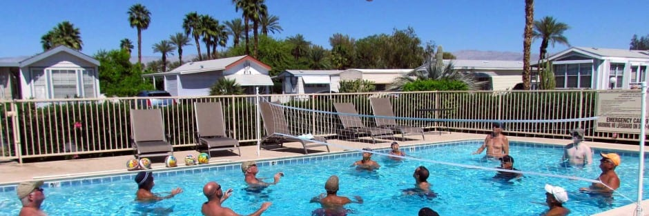 Our palm springs rv park residents enjoy pool volleyball in the sun!