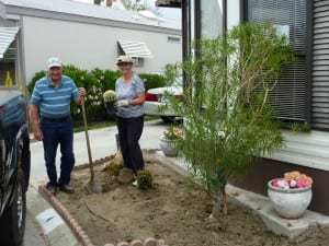Some of our residents building a new garden in the Indio RV Parks community